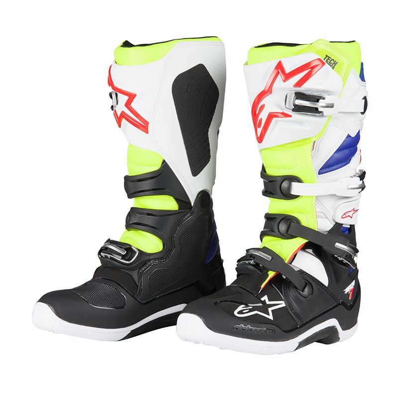 bottes cross alpinestars tech 7 white yellow fluo blue 2018 enduro. Black Bedroom Furniture Sets. Home Design Ideas