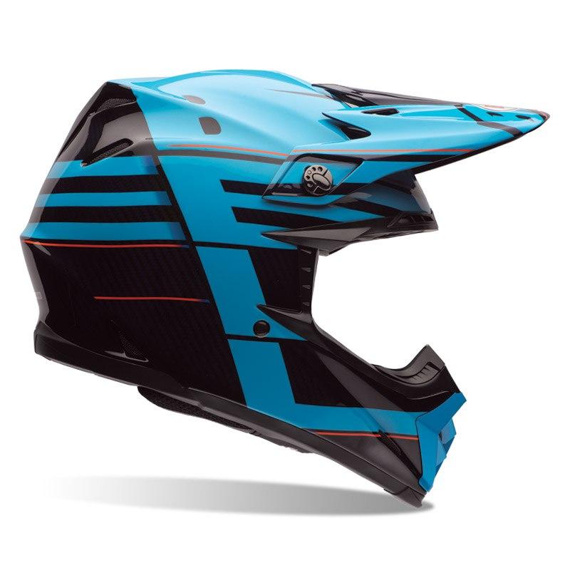 Casque Cross Bell Destockage Moto 9 Carbon Flex Blocked Bleu