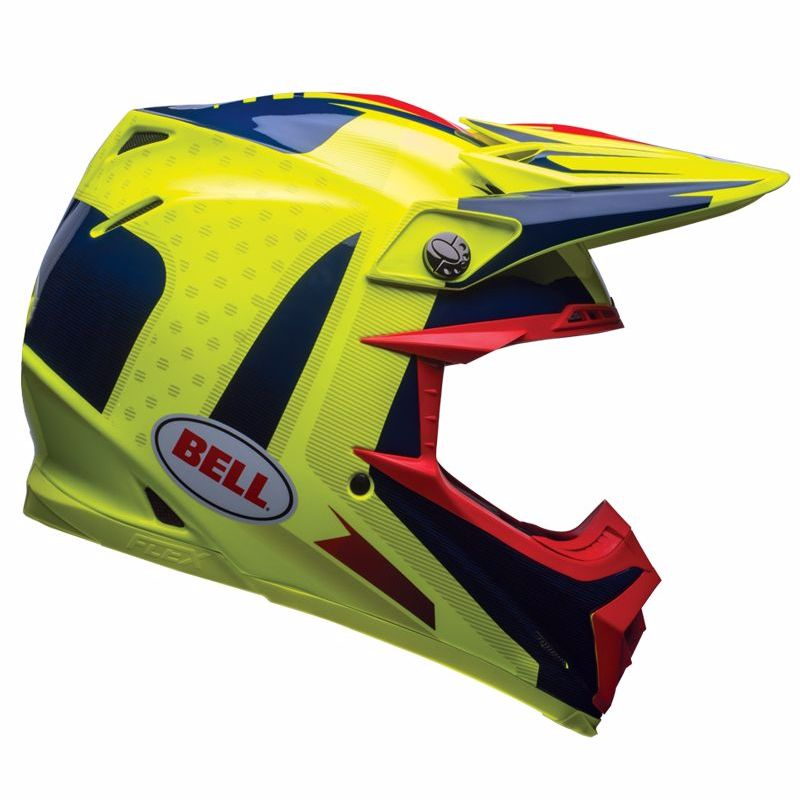 Casque Cross Bell Moto-9 Carbon Flex - Vice Bleu Jaune -