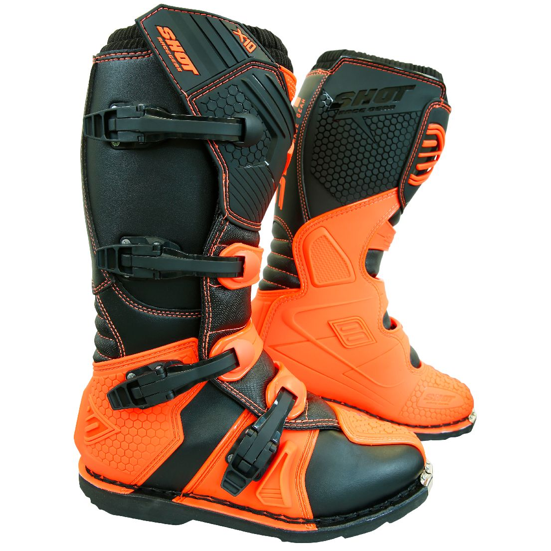 Bottes cross Shot destockage X10 2.0 - NEON ORANGE 2019