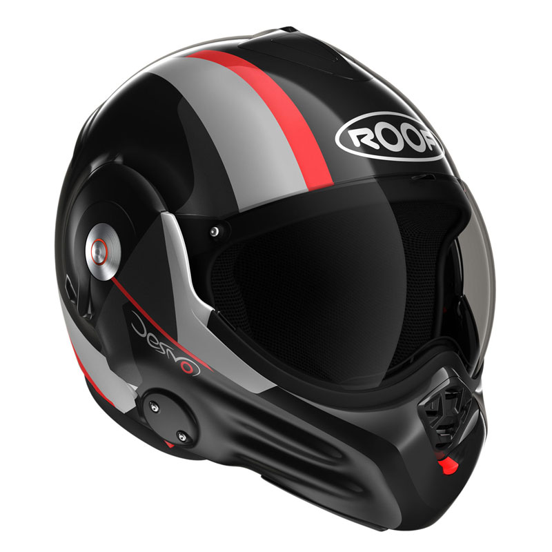 casque roof ro32 desmo ram noir rouge casque modulable. Black Bedroom Furniture Sets. Home Design Ideas