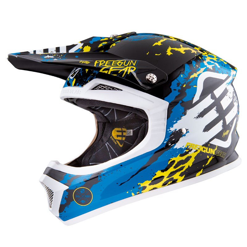 Casque cross Shot Déstockage XP4 BEAST BLEU LIME ENFANT 2016