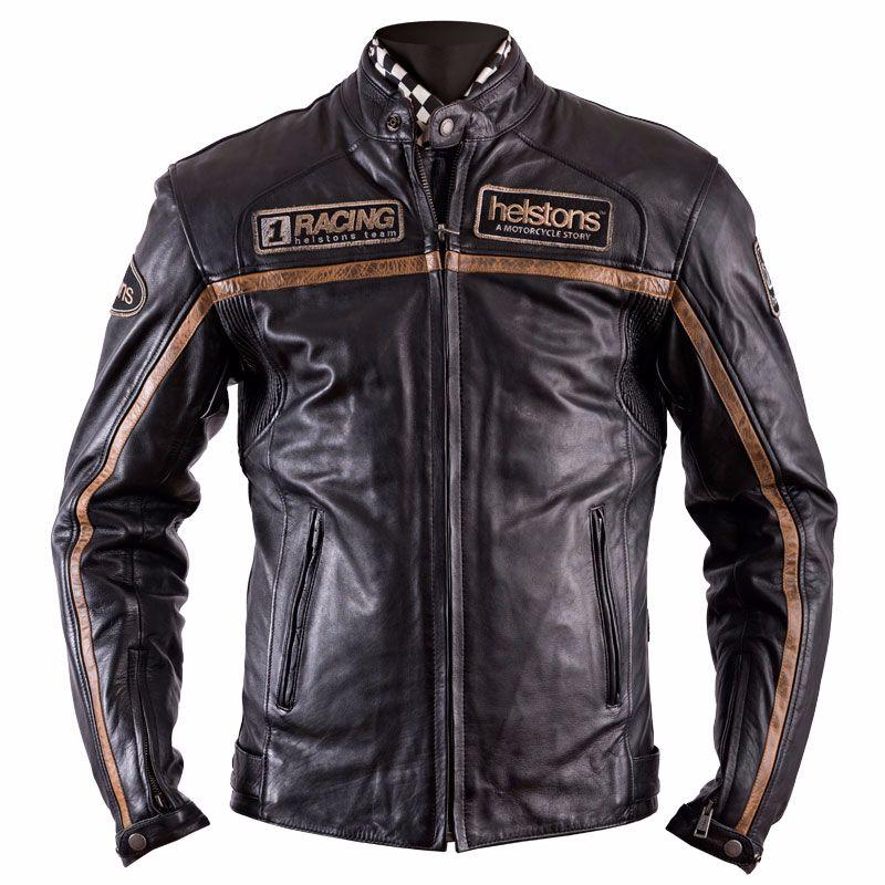 Blouson Helstons DAYTONA - cuir RAG noir