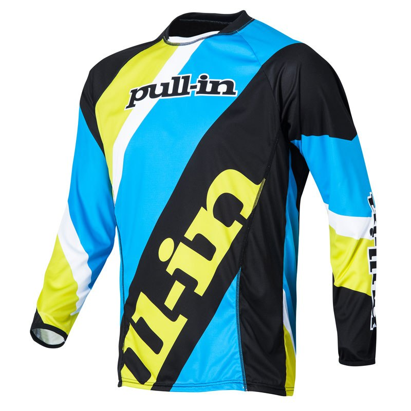 Maillot Cross Pull-in Stripes Ml - Cyan/lime