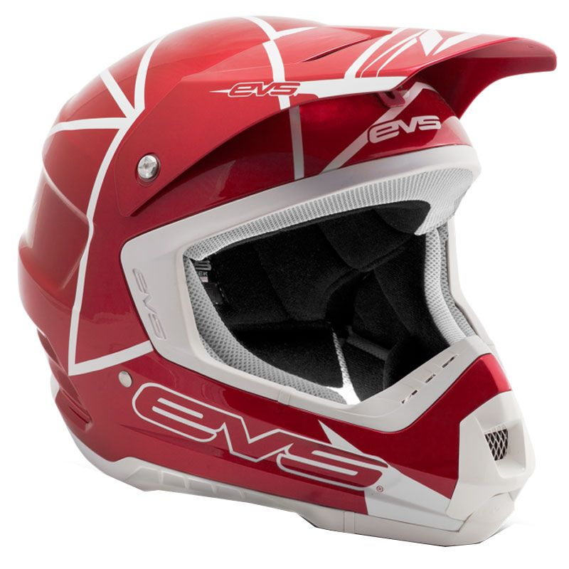 Casque Cross Evs T5 Neon Blocks Red