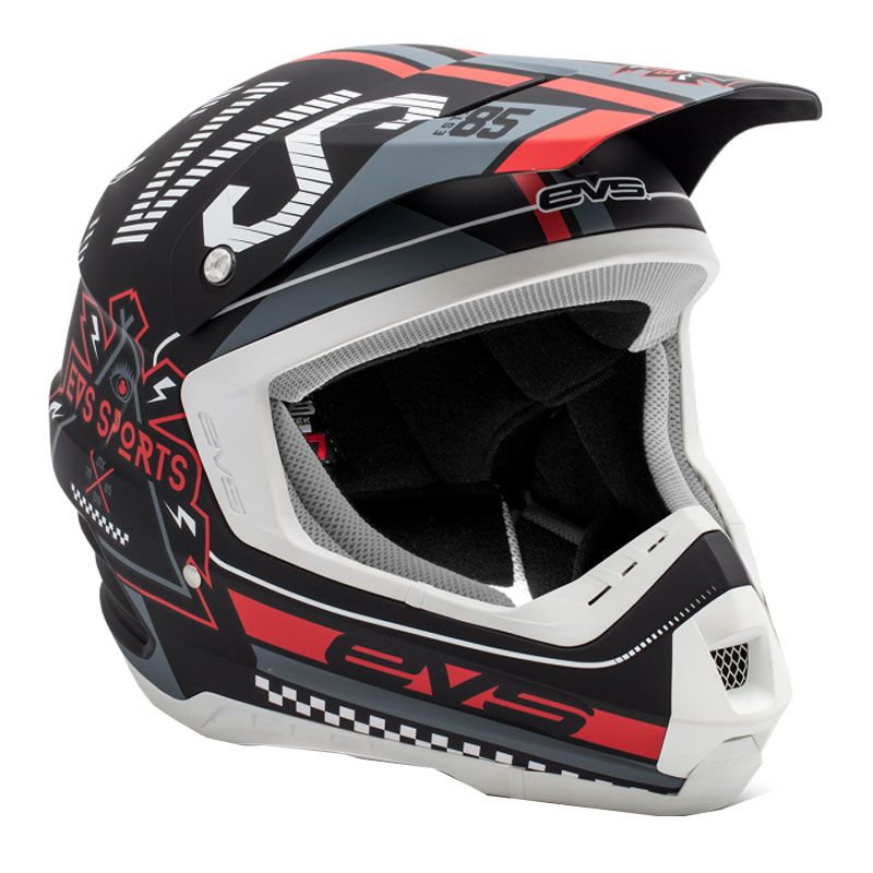 Casque Cross Evs T5 Rally Black White Red