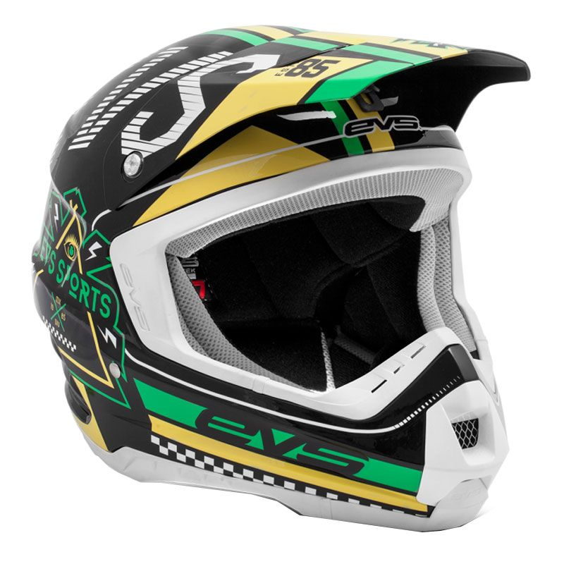 Casque Cross Evs T5 Rally Black White Green
