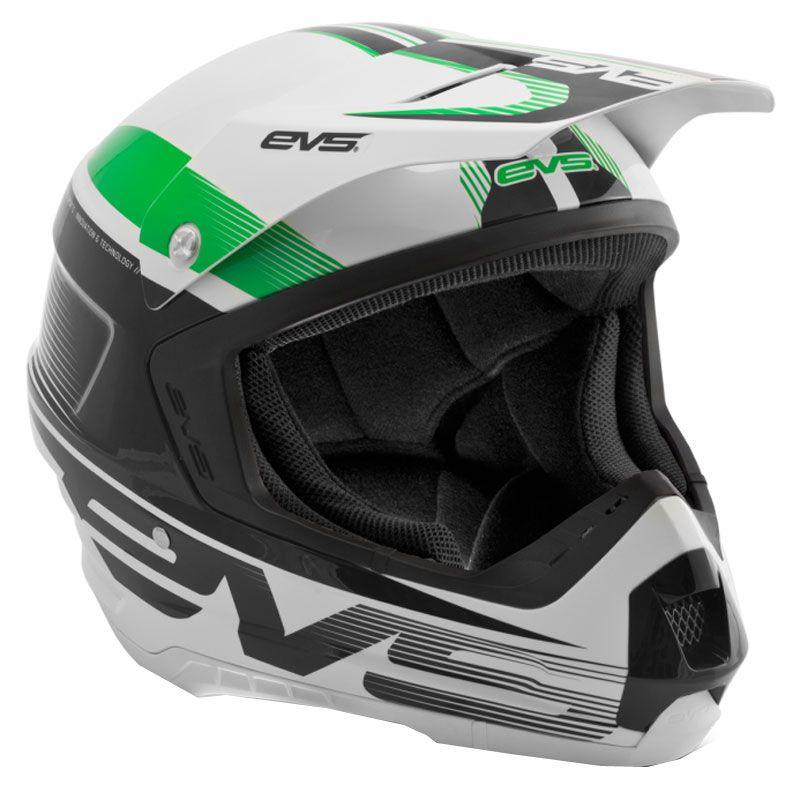 Casque Cross Evs T5 Vapor White Black Green