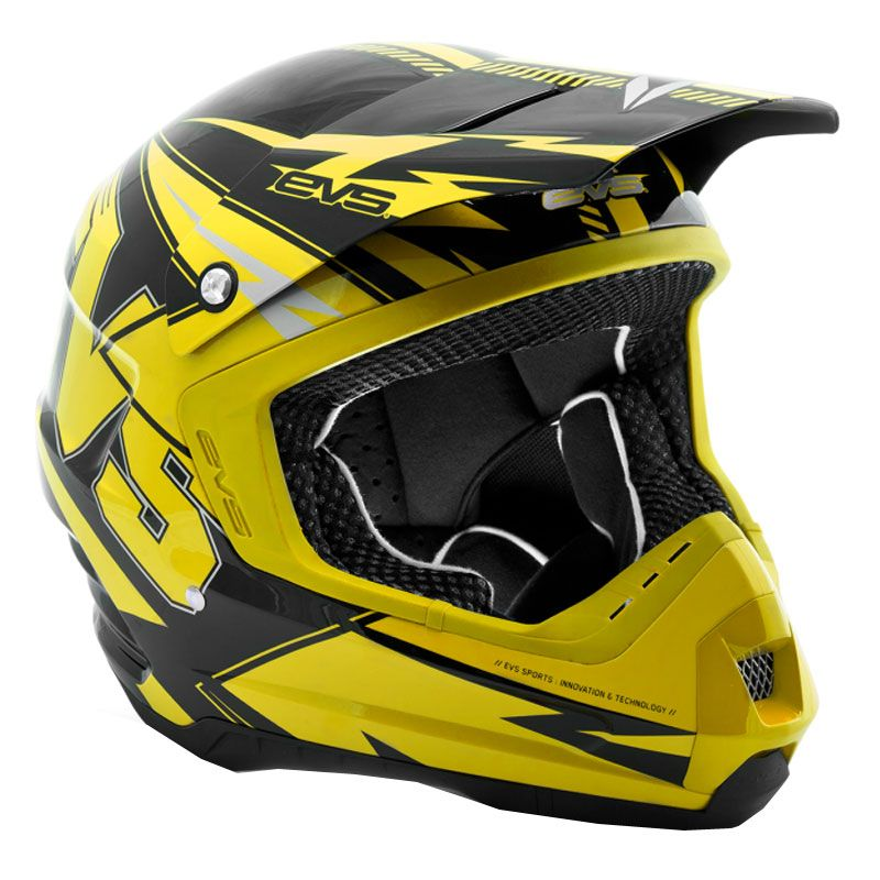Casque Cross Evs T5 Bolt Yellow Black