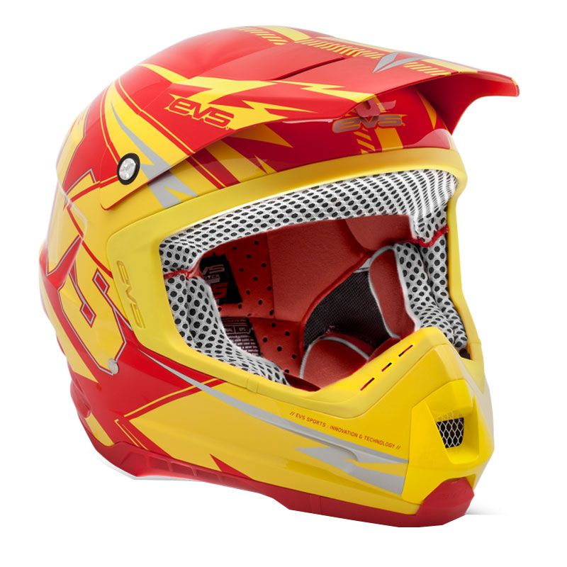 Casque Cross Evs T5 Bolt Yellow Red