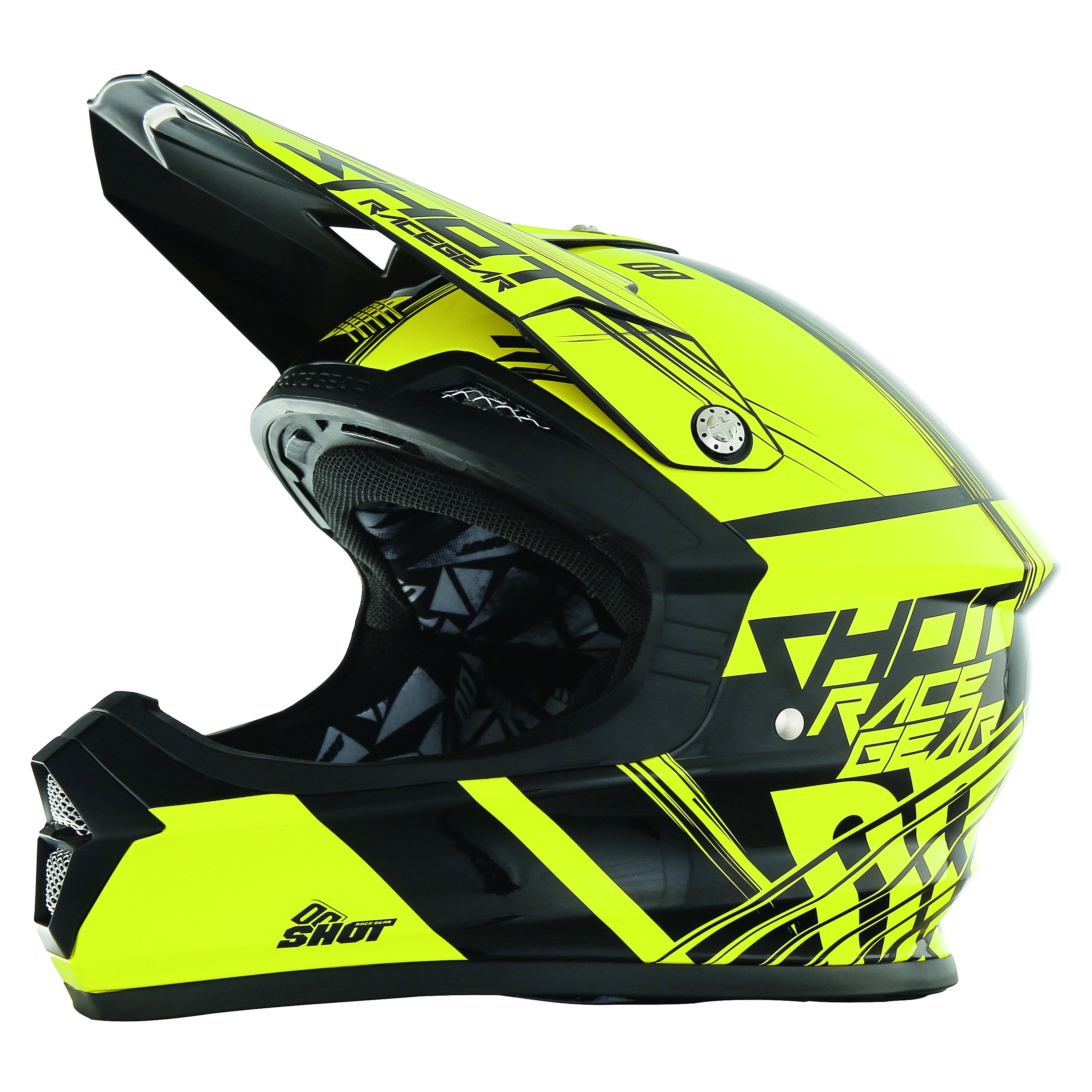 casque cross shot destockage furious claw neon jaune 2017. Black Bedroom Furniture Sets. Home Design Ideas