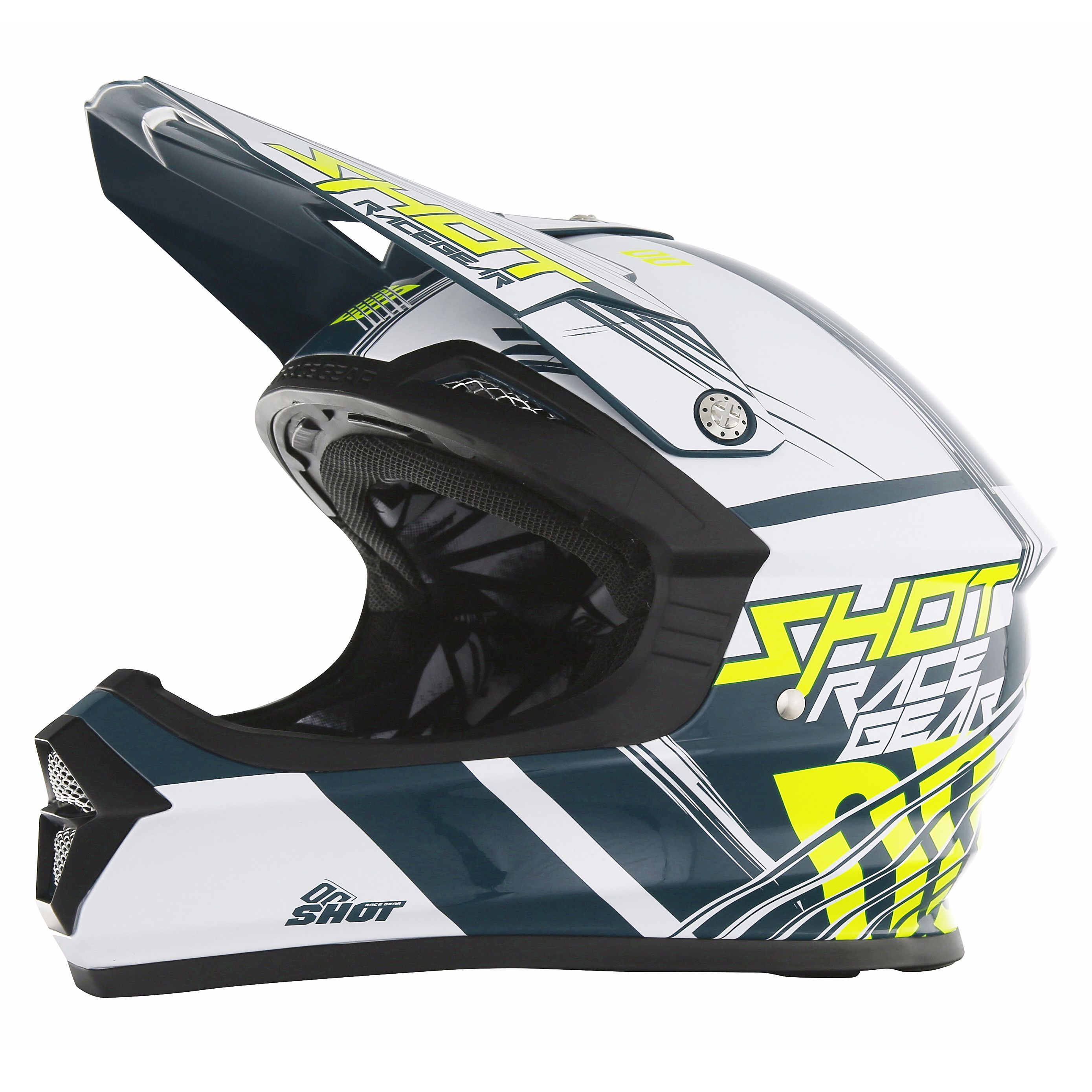 Casque cross Shot destockage FURIOUS CLAW TEAL BLEU NEON JAUNE  2017