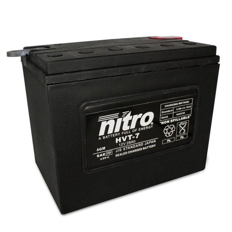 Batterie Nitro Hvt 07 Agm Ferme Harley Oe 66007-84 Type Acide Sans Entretien