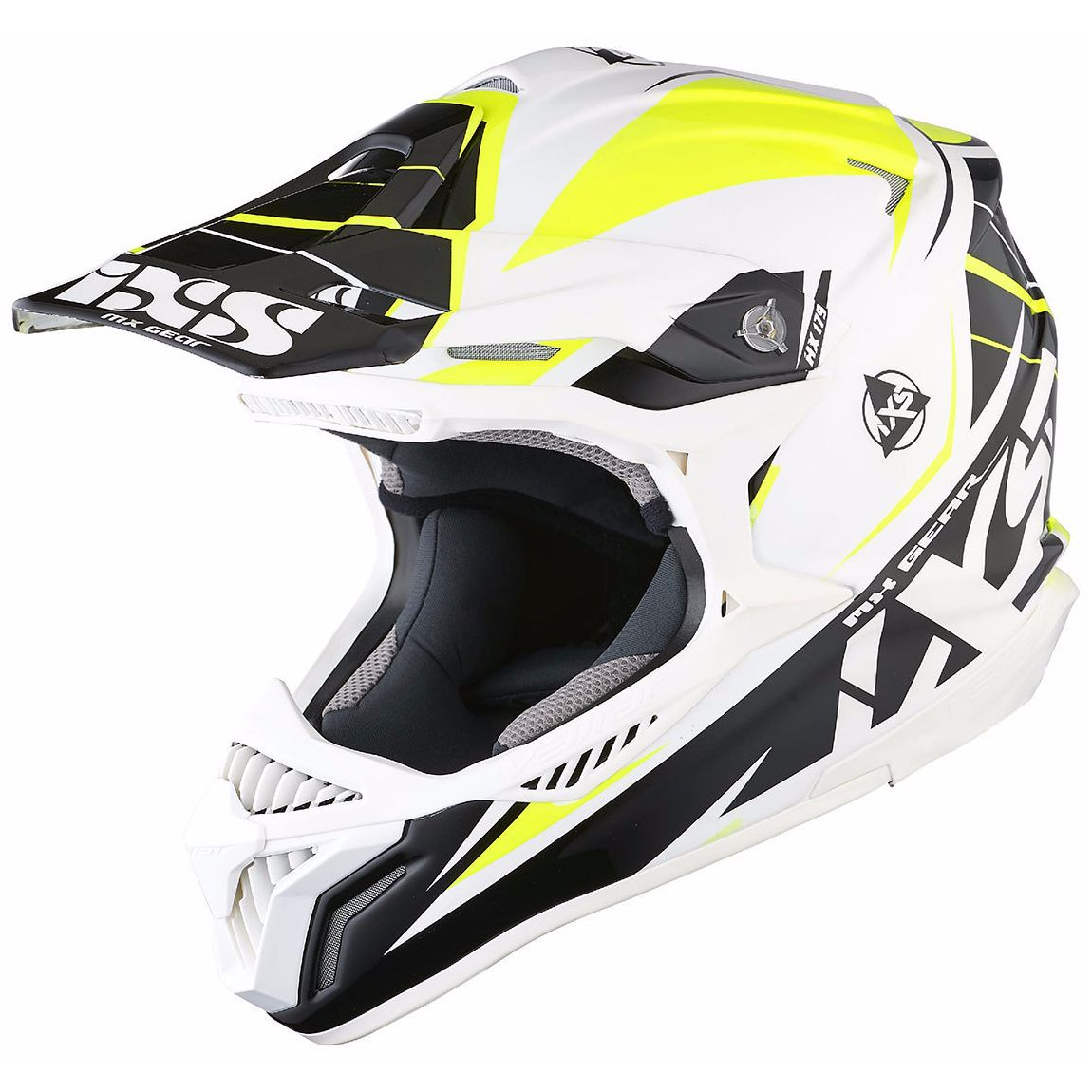 Casque Cross Ixs Hx179 Flash - Blanc Noir Jaune