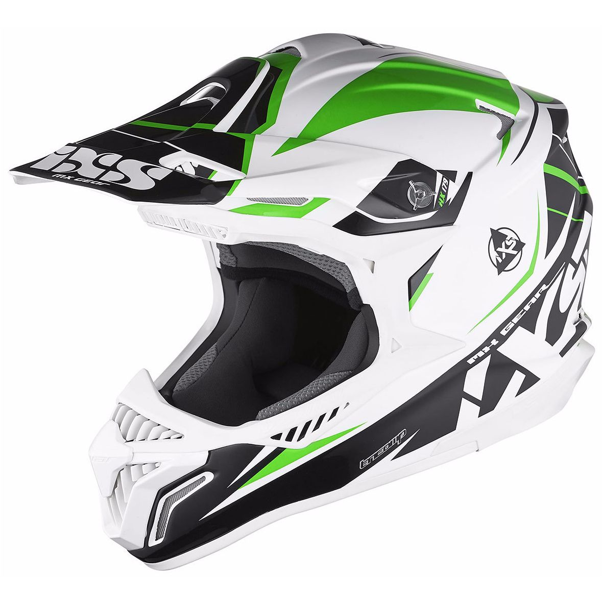 Casque Cross Ixs Hx179 Flash - Blanc Noir Vert
