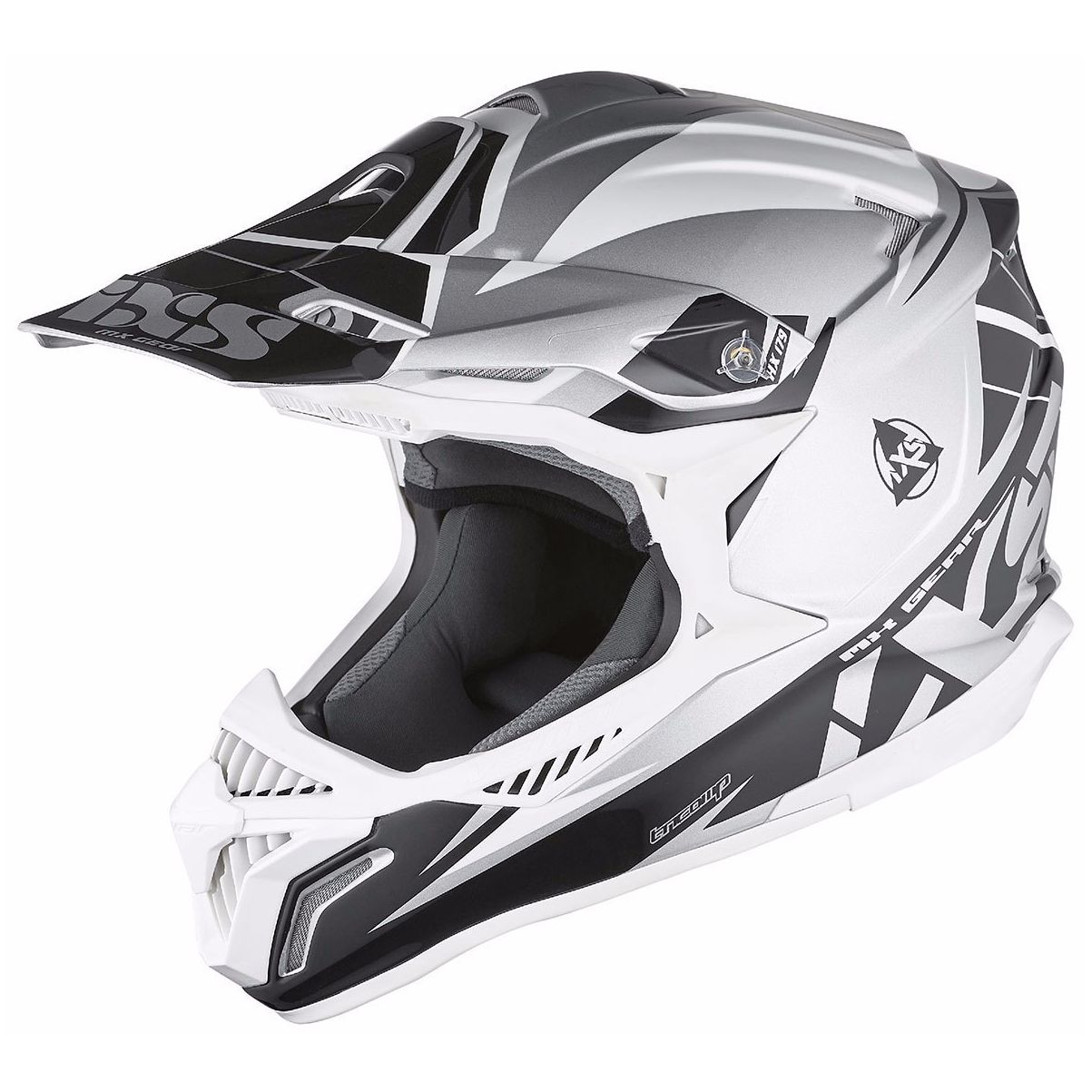 Casque Cross Ixs Hx179 Flash - Argent Noir Blanc