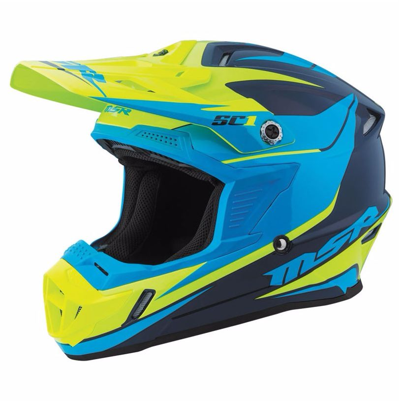 Casque cross MSR SC1 PHOENIX - NAVY/CYAN/YELLOW - 2017