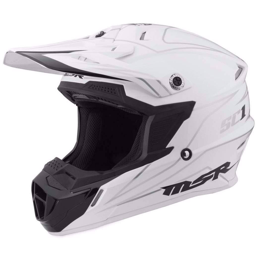 Casque cross MSR SC1 PINSTRIPE - WHITE - 2017