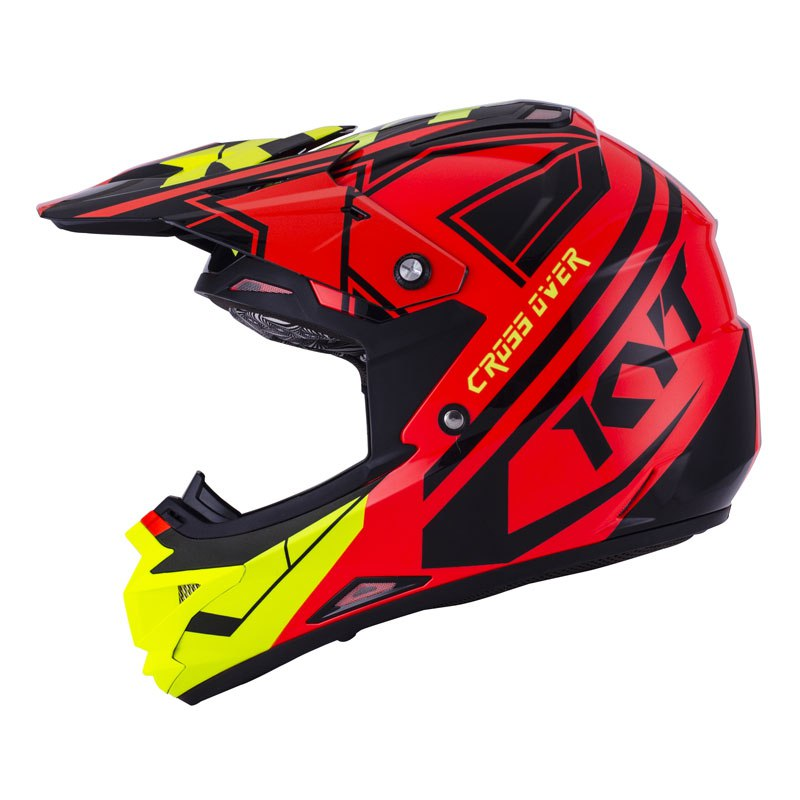 Casque Cross Kyt Cross Over K Time Rouge Jaune Fluo