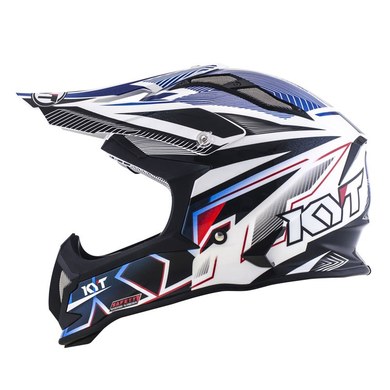 Casque Cross Kyt Strike Eagle Stripe Blanc Bleu