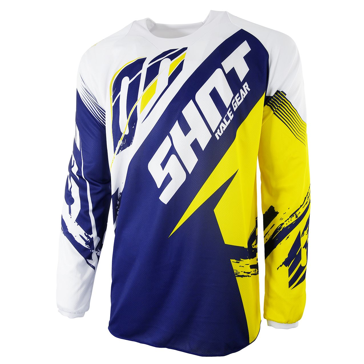 Maillot cross Shot destockage CONTACT FAST BLEU JAUNE  2017