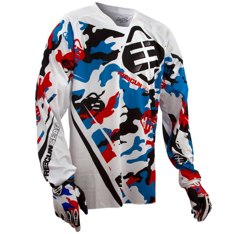 Maillot cross Shot FREEGUN CAMO BLANC/BLEU/ROUGE 2014