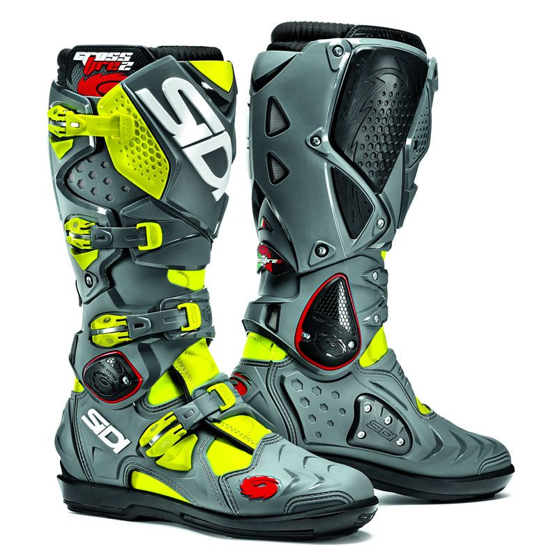 Bottes Cross Sidi Crossfire 2 Srs Jaune Fluo/gris