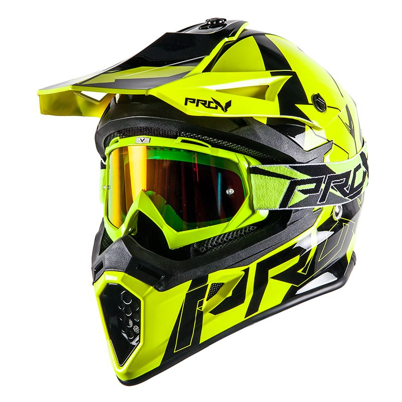 Casque Cross Prov Skud Bikki Yellow Fluo