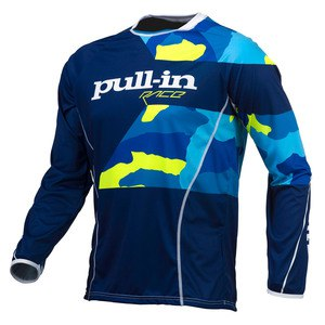 Maillot cross Pull-in Destockage FIGHTER 2016 CAMO BLEU JAUNE FLUO