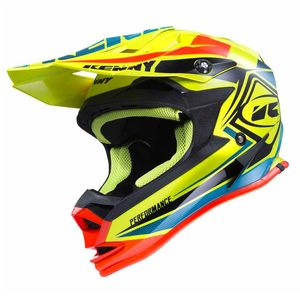 Casque cross Kenny KID PERFORMANCE - JAUNE FLUO / BLEU / ORANGE - 2017