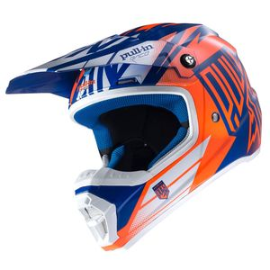 Casque cross Pull-in MOTO KID - BLEU / ORANGE FLUO - 2017