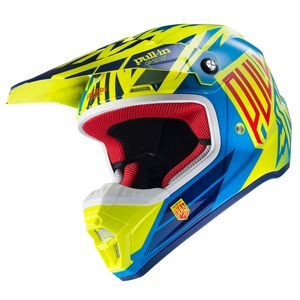 Casque cross Pull-in MOTO KID - JAUNE FLUO / CYAN - 2017