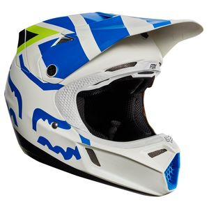 Casque cross Fox V3 YOUTH CREO 2017 - BLANC JAUNE (mat/brillant)