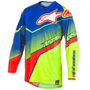 Maillot cross Alpinestars TECHSTAR VENOM BLUE YELLOW FLUO RED 2017