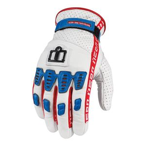 Gants Icon 1000 TURNBUCKLE Blanc/Bleu/Rouge