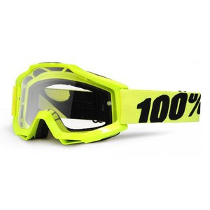 Masque cross 100% ACCURI JUNIOR - FLUO YELLOW CLEAR LENS