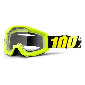 Masque cross 100% STRATA JUNIOR - NEON YELLOW CLEAR LENS
