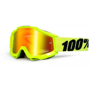 Masque cross 100% ACCURI - FLUO YELLOW RED LENS
