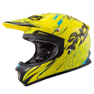 Casque cross Shot Déstockage FURIOUS CAPTURE JAUNE BLEU BRILLANT 2016