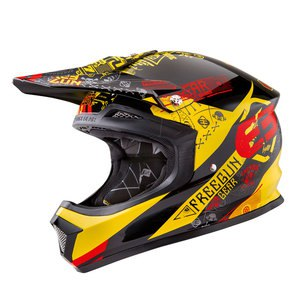 Casque cross Shot Déstockage XP4 BANDANA JAUNE ROUGE ENFANT 2016