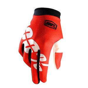 Gants cross 100% ITRACK - FIRE RED 2017