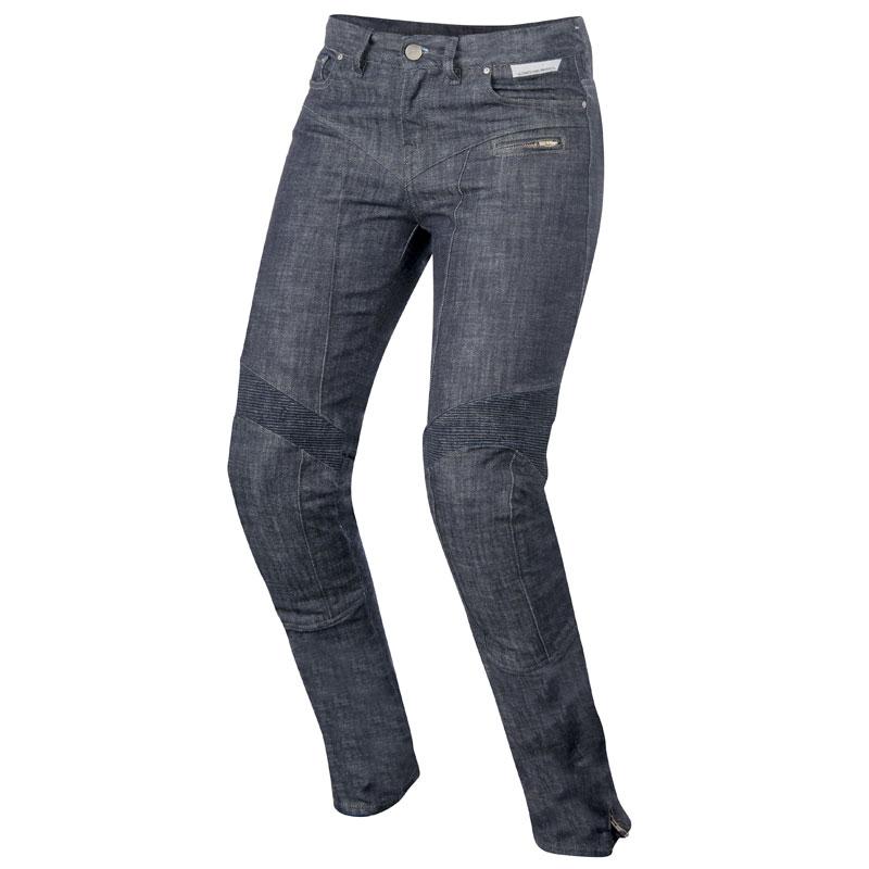 veste cuir et jean alpinestar femme e
