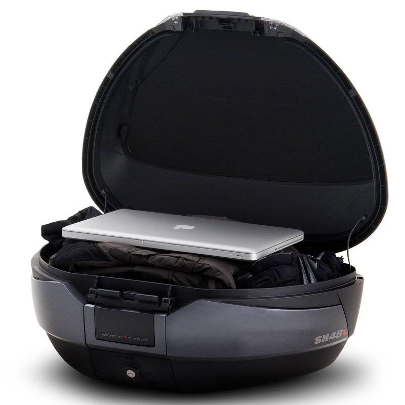 top case shad sh 48 carbone avec dosseret bagagerie moto. Black Bedroom Furniture Sets. Home Design Ideas