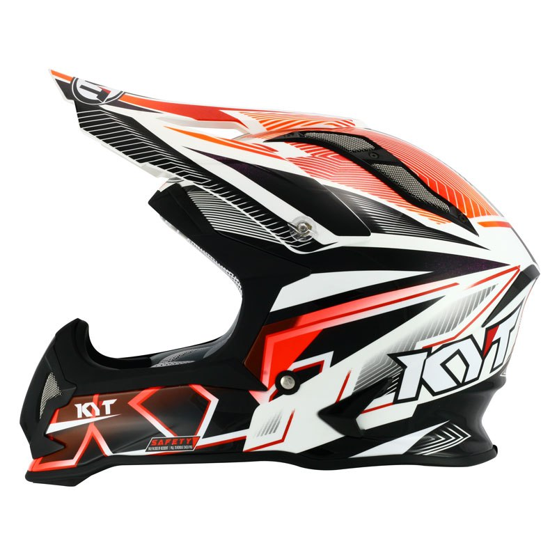 Casque Cross Kyt Strike Eagle Stripe Blanc Rouge Fluo