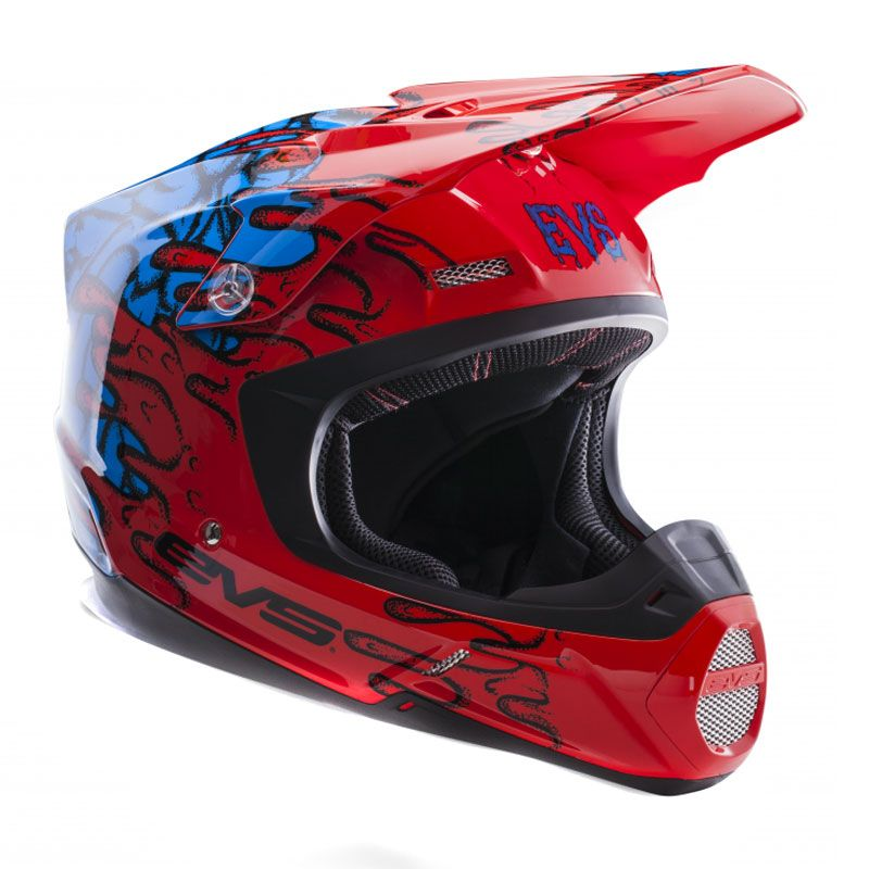 Casque cross EVS T5 ECTO RED BLUE  2017