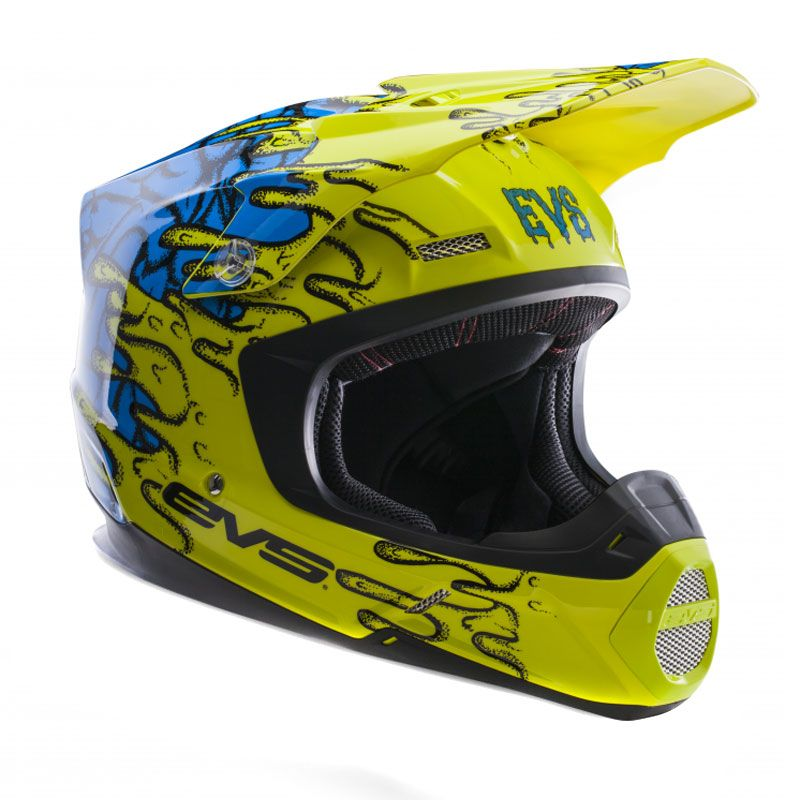 Casque Cross Evs T5 Ecto Yellow Blue