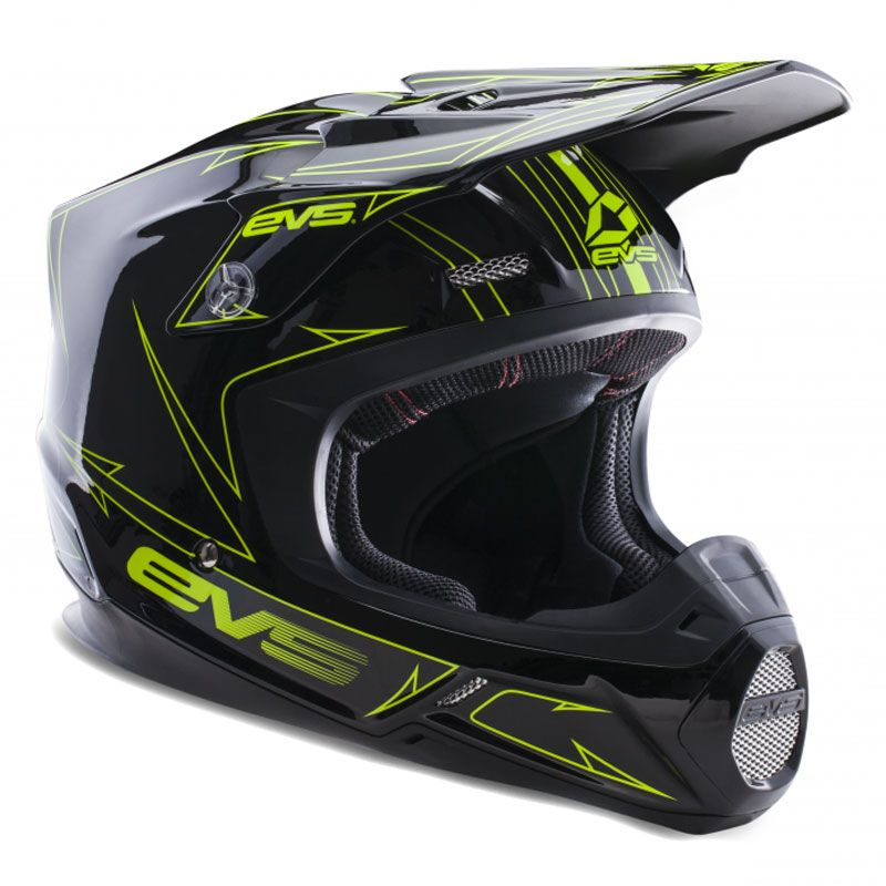 Casque cross EVS T5 PINNER BLACK HIVIZ YELLOW  2017