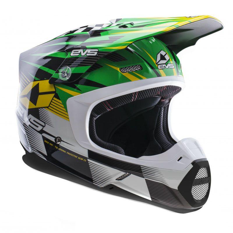 Casque Cross Evs T5 Speedway Green Yellow