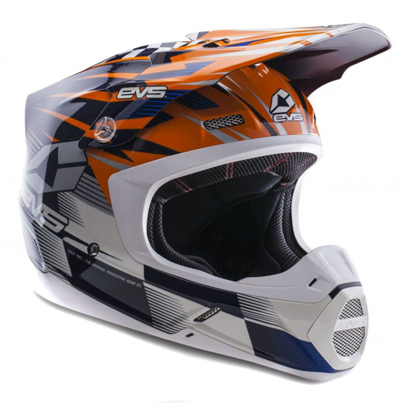 Casque Cross Evs T5 Speedway Orange Blue