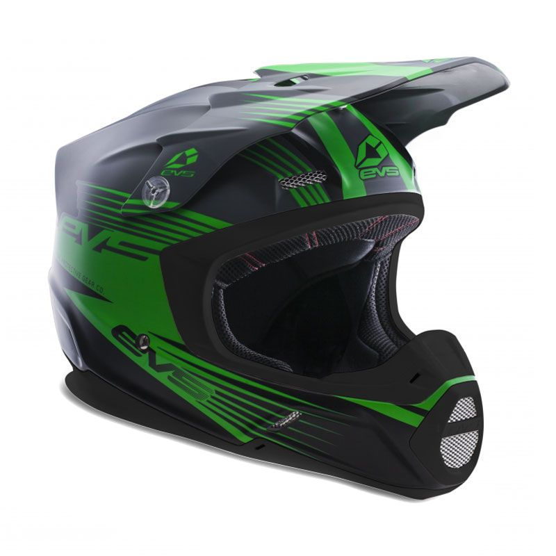 Casque Cross Evs T5 Works Matte Grey Green Black